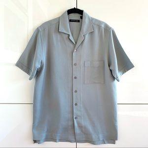 Men's Kenneth Cole Slate Blue Silk SS Button Down